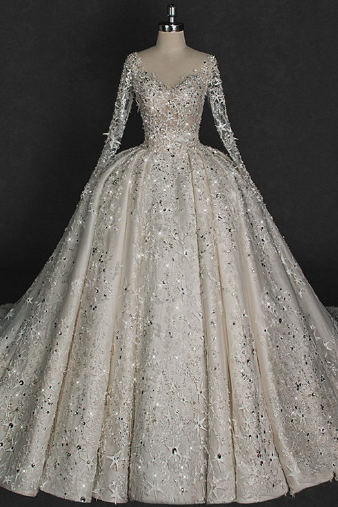 Sparkly Long Sleeves Ball Gown Fashion Lace Open Back Wedding Dresses Z1840
