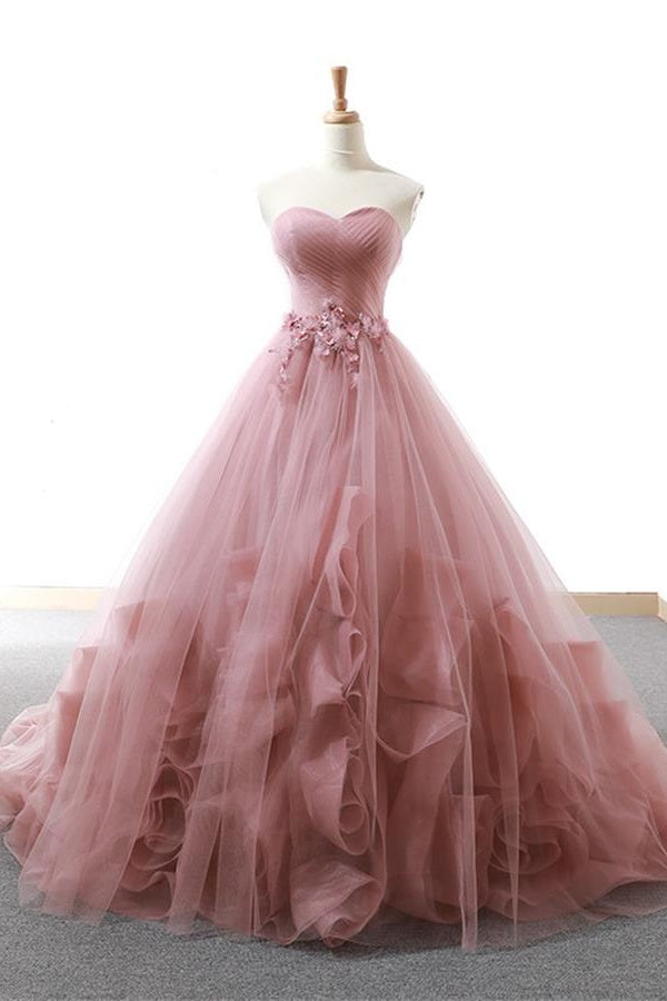 Sweetheart Lace Up Simple Elegant Ball Gown Backless Prom Dresses Z1842