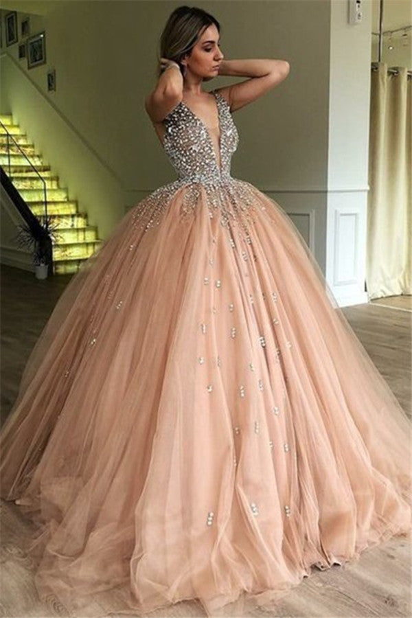 Sparkly Ball Gown Deep V-neck Beading Tulle Princess Prom Dresses Z1844