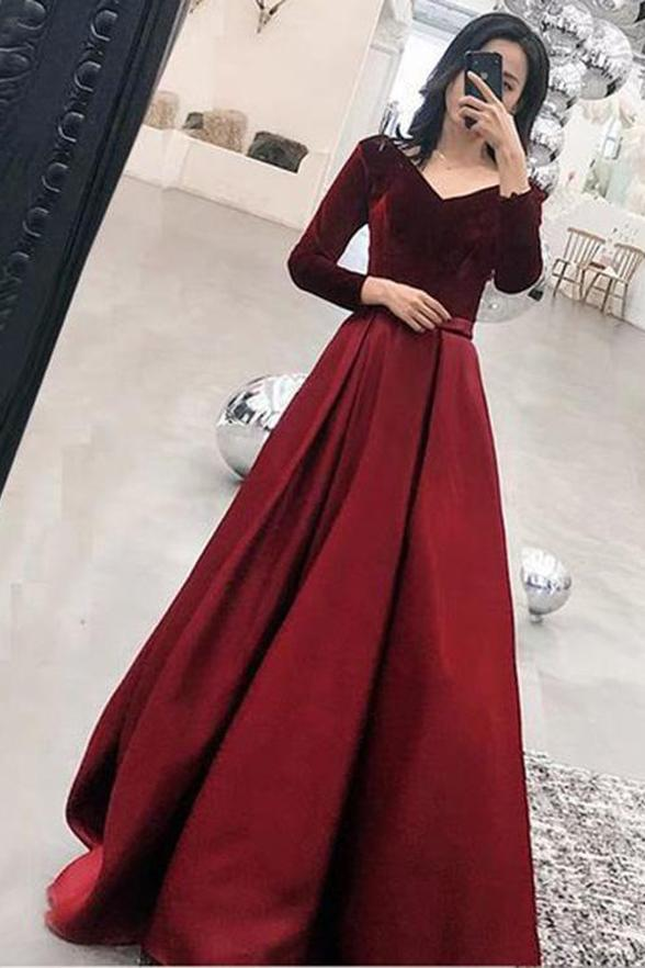 Modest Long V-neck Burgundy Simple Prom Dresses With Sleeves Z1847