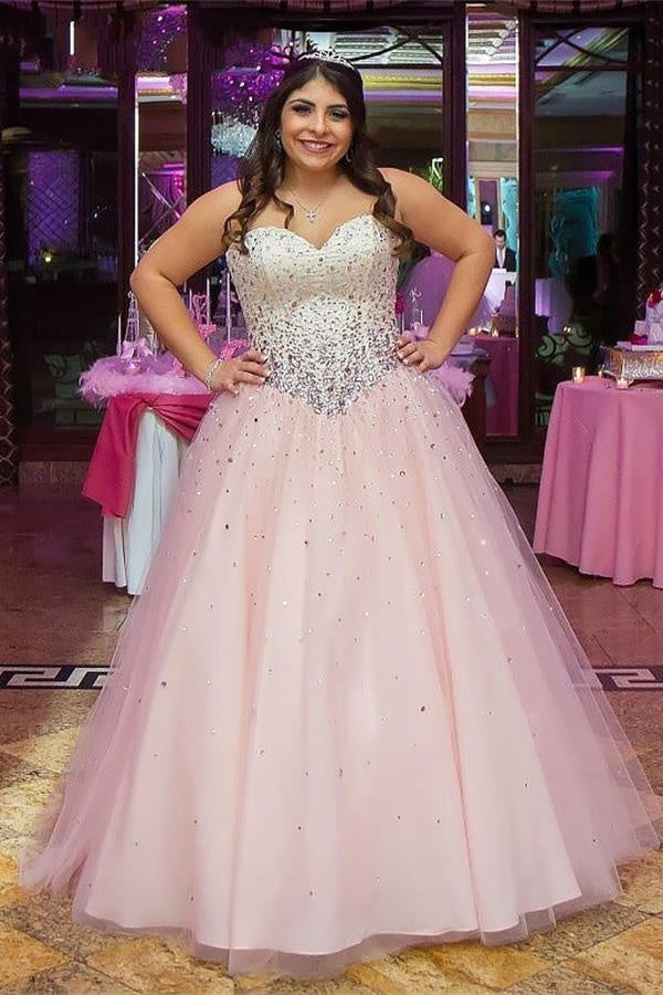 a98091d4af5 Pretty Pink Long Sweetheart Beading Tulle Quinceanera Dresses Princess Prom  Dresses Z1870