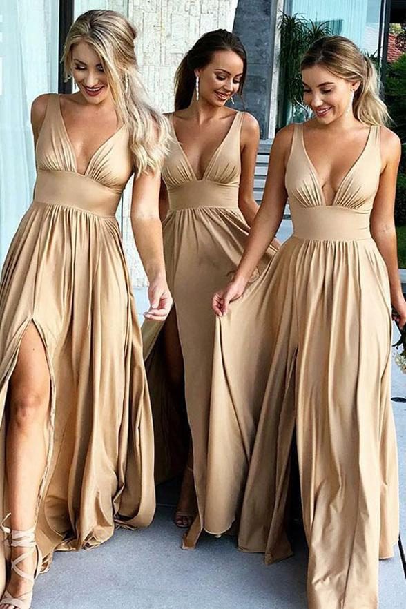 Top Selling V-neck Open Back Simple Cheap Flowy Long Prom Dresses Z1872
