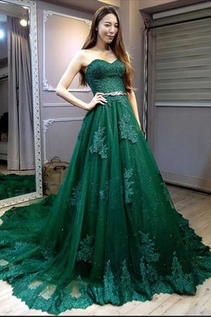 Open Back Sweetheart Elegant Green Lace Tulle Princess Prom Dresses Z1873