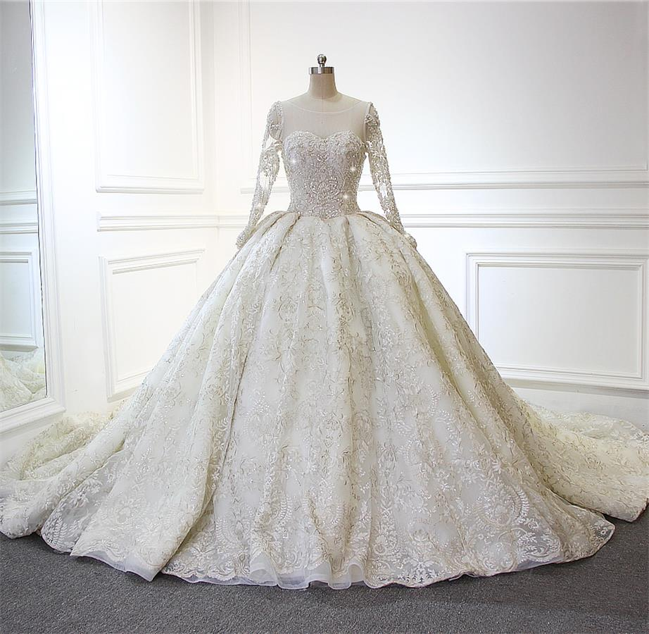 d92ae5e26aa5 Sparkly Gorgeous Long Sleeves Wedding Dresses Ball Gown Bridal Dresses Z1881