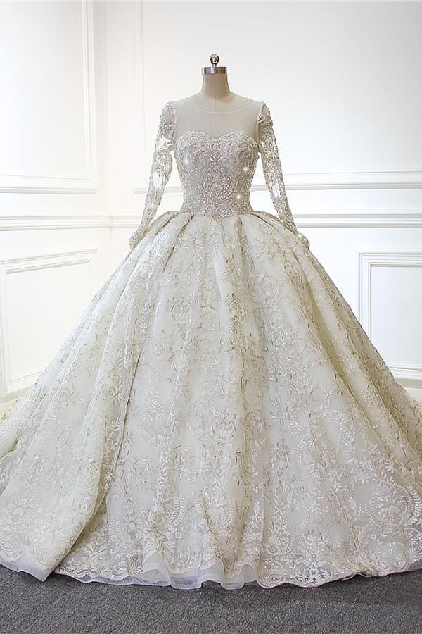 Sparkly Gorgeous Long Sleeves Wedding Dresses Ball Gown Bridal Dresses Z1881
