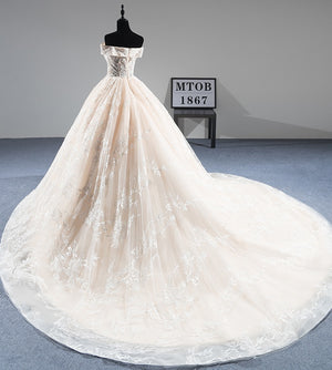 Pretty Ball Gown Off The Shoulder Lace Long Wedding Dresses Wedding Gowns Z1883