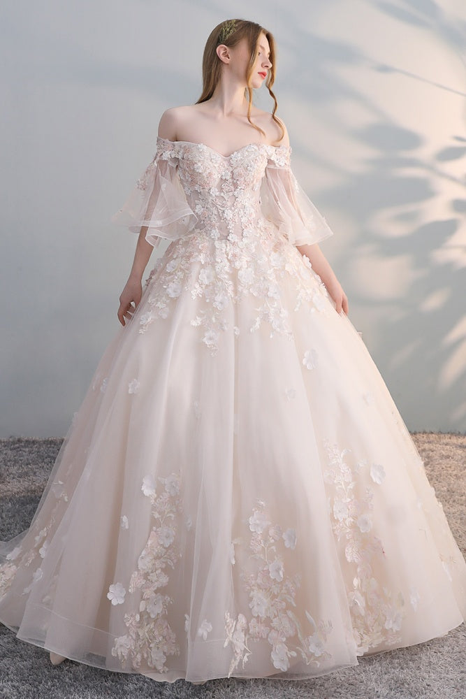 Elegant Lace Up Long Ball Gown Beautiful Wedding Dresses Bridal Dresses Z1886