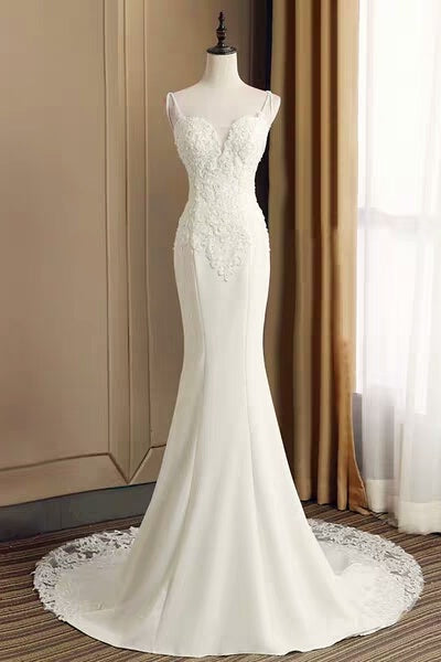 Mermaid Spaghetti Straps Open Back Long Ivory Lace Wedding Dresses Beach Wedding Dresses Z1894