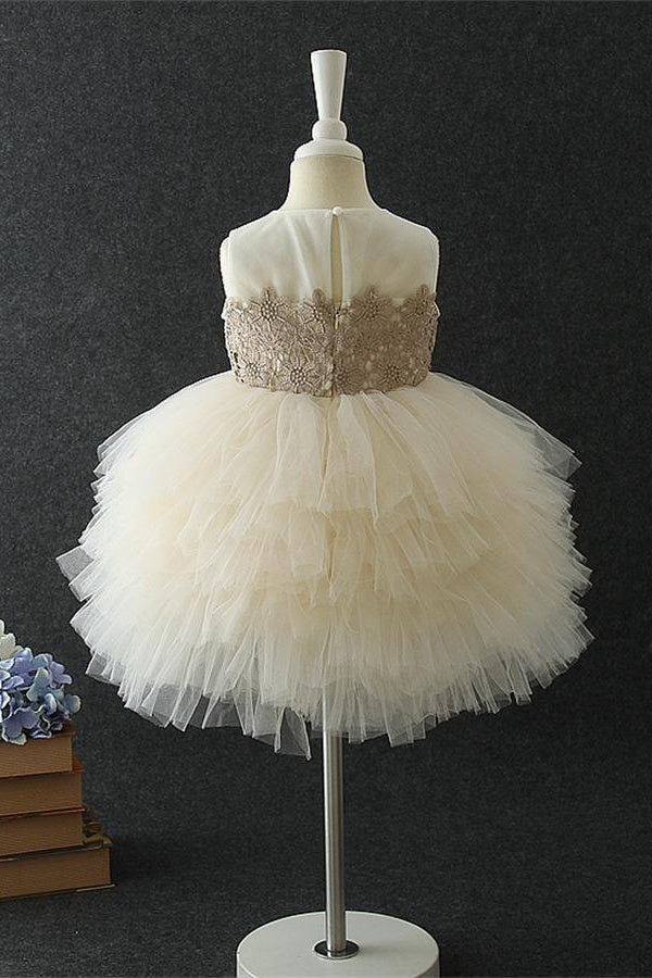 Cute Ball Gown Lace Tulle Short Zipper Back Flower Girl Dresses For Child Z1895