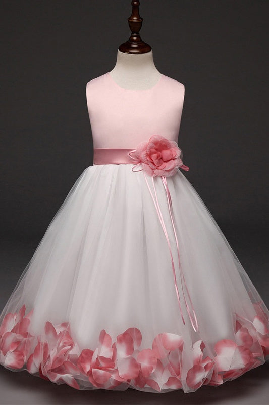 Pink A-line Satin Tulle Pretty Flower Girl Dresses With Handmade Flower Z1896
