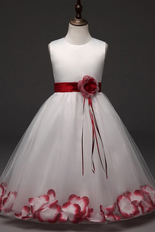 Simple Elegant Zipper Back Cute Red Flower Girl Dresses For Child Z1897