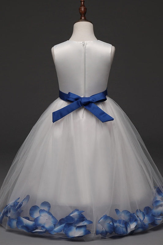 Blue Long Scoop Neckline Simple Cute Flower Girl Dresses Z1898