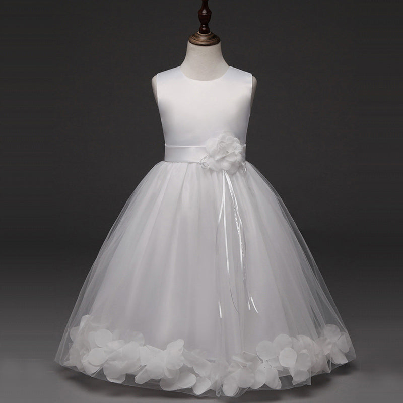 Beauty White Satin Tulle Simple Cheap Flower Girl Dresses For Child Z1899
