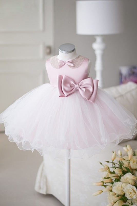 Pretty Pink And White Cute Beading Baby Flower Girl Dresses White Bowknot Z1900