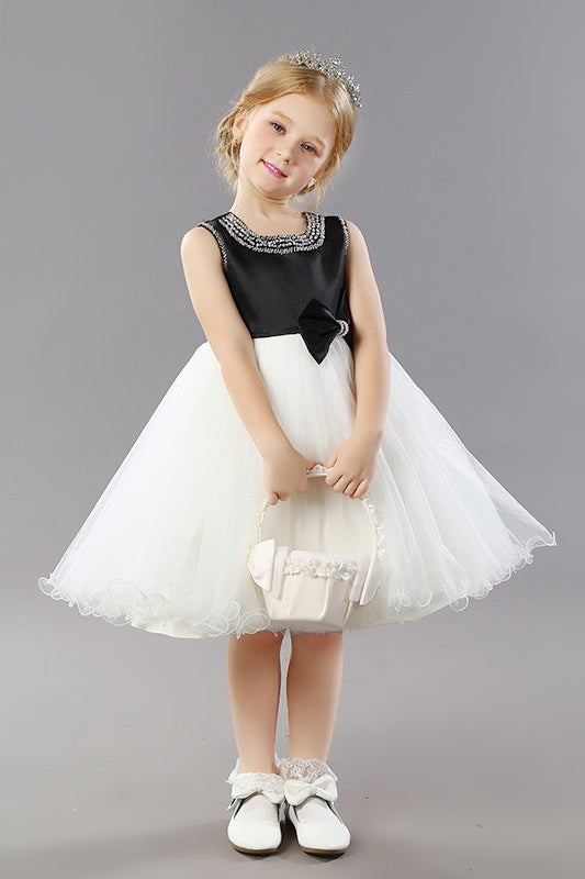 Knee Length Black And Ivory Simple Flower Girl Dresses With Bowknot Z1901