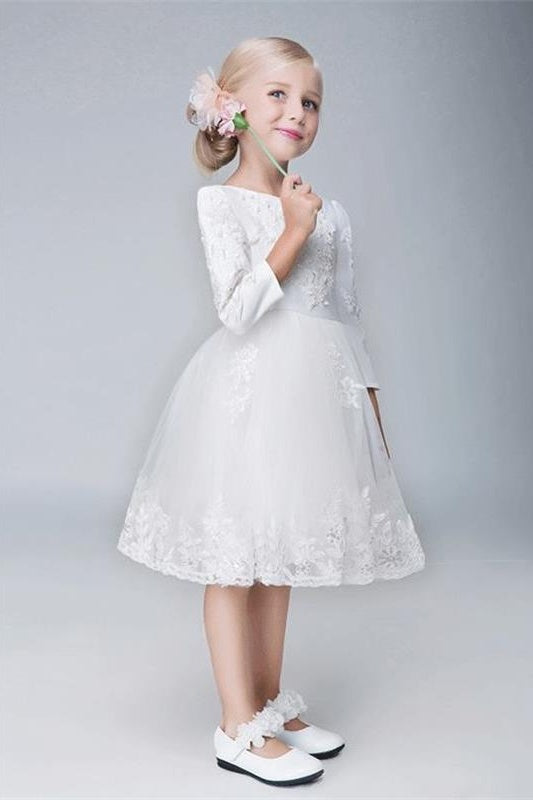 Ivory Lace Tulle Cute Flower Girl Dresses With Sleeves Dresses For Child Z1902