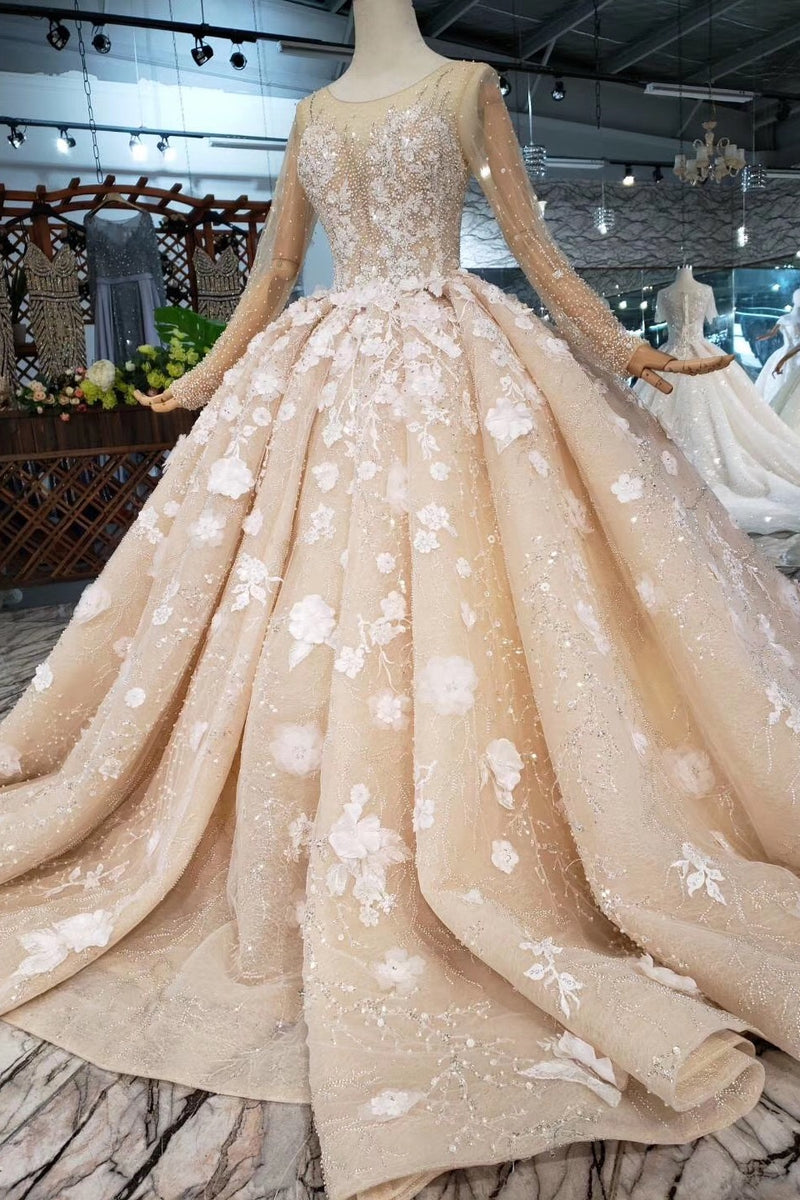 Gorgeous Ball Gown Long Sleeves Beading Princess Wedding Dresses Z1938