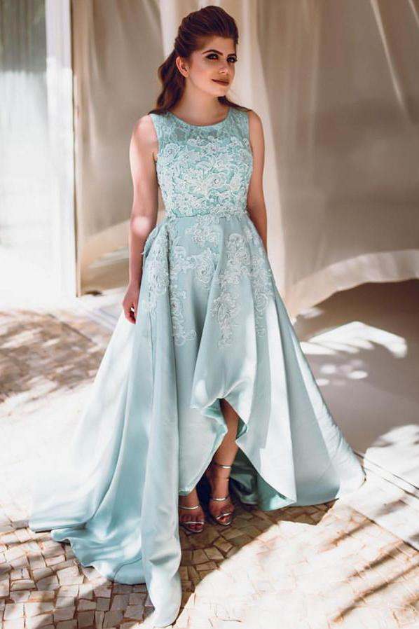 Mint Long High Low Lace Prom Dresses Elegant Party Dresses Cute Dresses Z1993