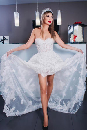 Pretty Sweetheart High Low Lace Beach Wedding Dresses Wedding Gowns Z1996
