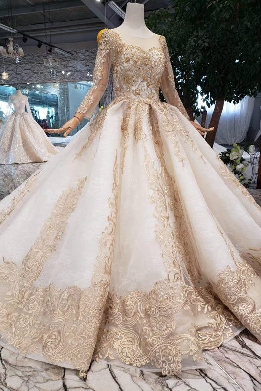 Modest Amazing Long Sleeves Ball Gown Lace Tulle Wedding Dresses Z2016