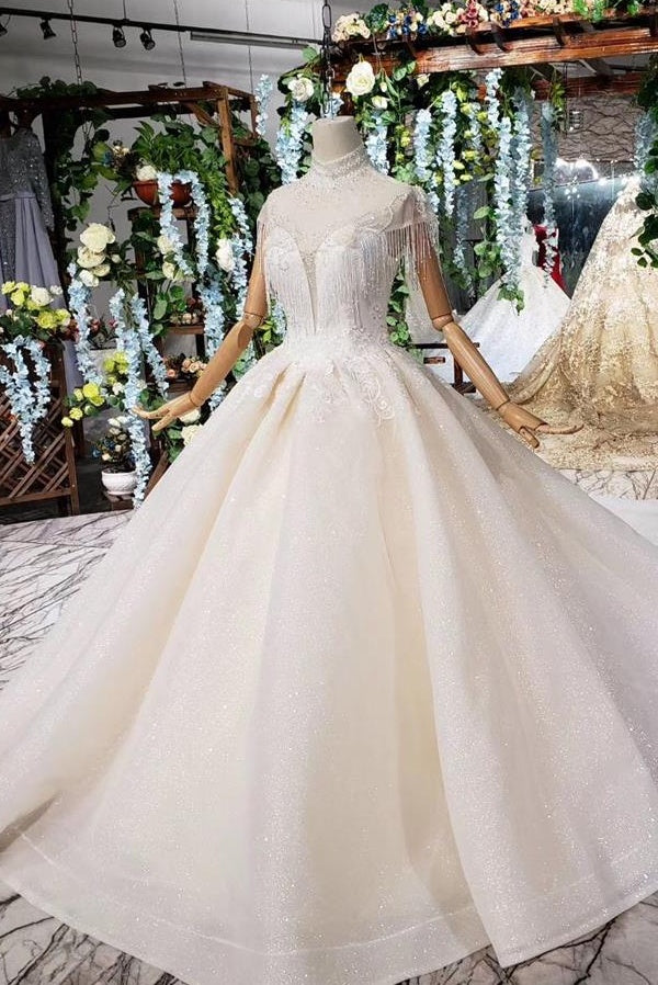 Elegant Vintage Long Ball Gown Ivory Lace Beading Wedding Dresses Bridal Dresses Z2020