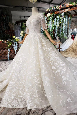 Formal Half Sleeves Ivory Lace Long Ball Gown Beading Modest Wedding Dresses Z2021