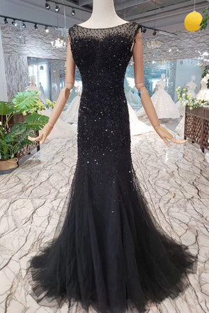 Sparkly Black Long Mermaid Open Back Modes Prom Dresses Prom Gowns Z2025
