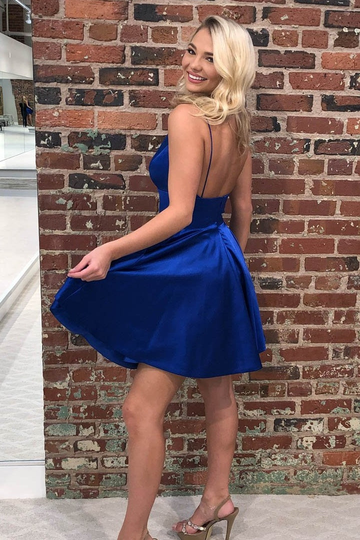 Simple Royal Blue Short Cute Dresses For Teens Homecoming Dresses Z2032