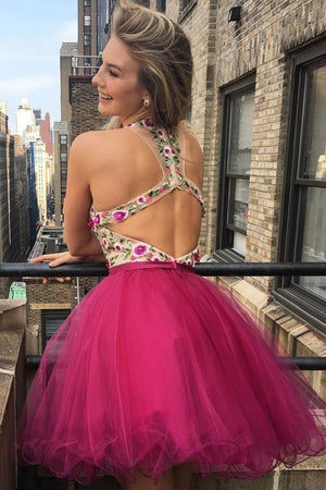 Fashion Open Back Short Tulle Homecoming Dresses Party Dresses Cute Dresses Z2038