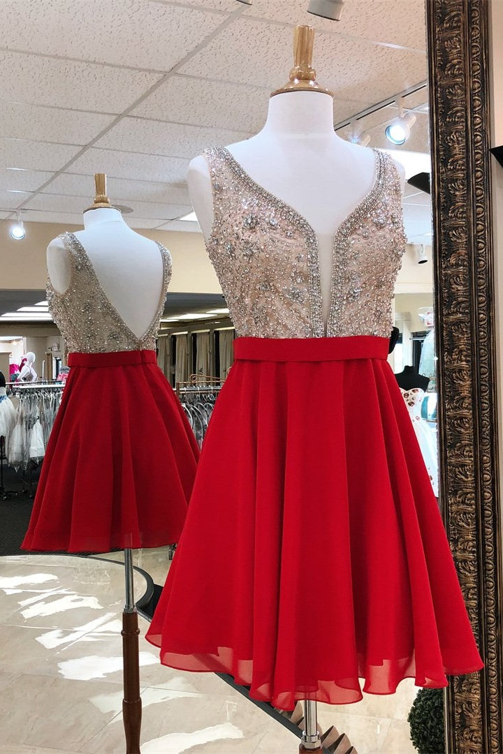 Pretty Red Beading Short Open Back Cute A-line Homecoming Dresses Z2039