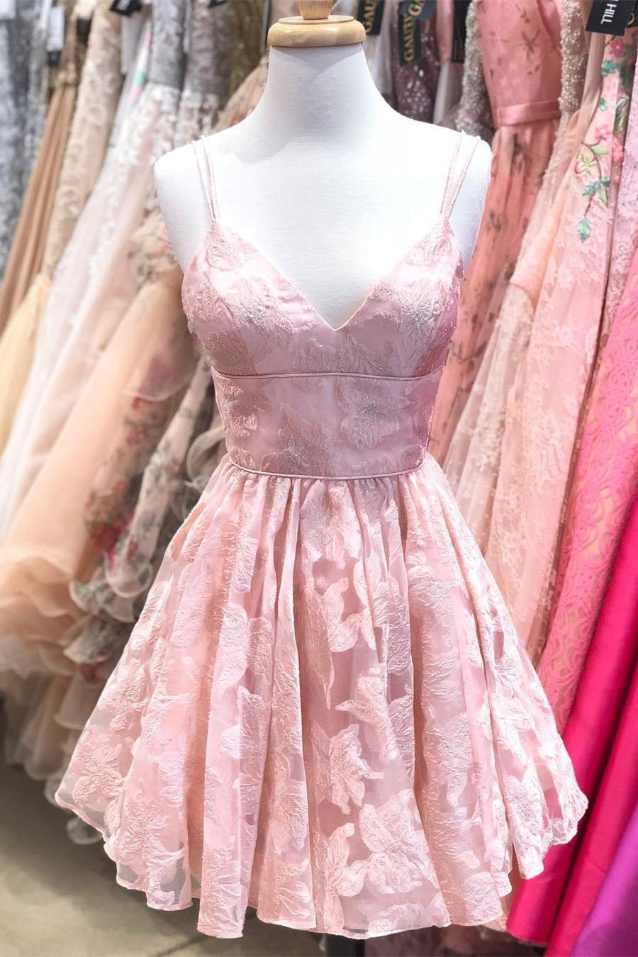 Spaghetti Straps Short Cute Pink Cocktail Dresses Homecoming Dresses For Teens Z2040