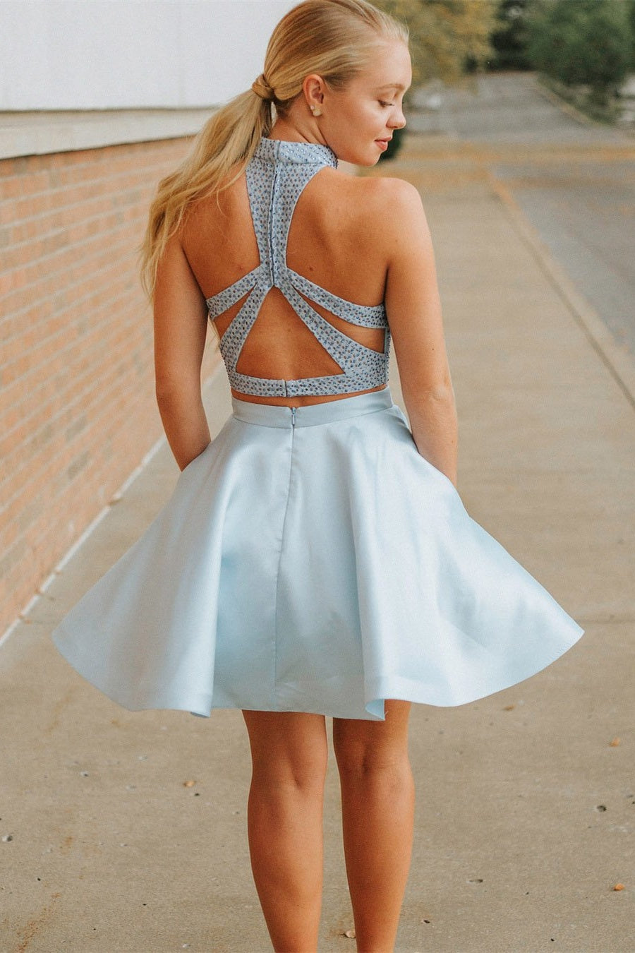Simple Light Blue Lace Satin Two Pieces Short Homecoming Dresses Party Dresses Z2045