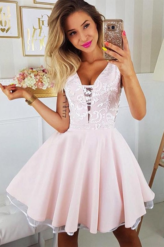Pink And Ivory Simple Elegant Cocktail Dresses Beautiful Homecoming Dresses Z2049