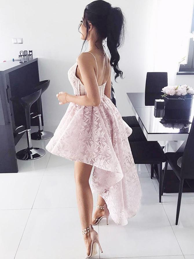 Cute High Low Pink Lace Homecoming Dresses Simple Cocktail Dresses Party Dresses Z2051