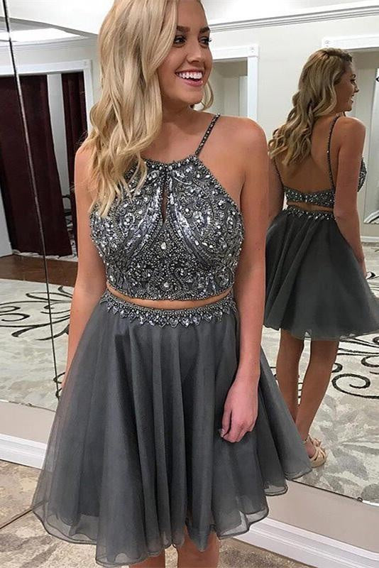 Two Pieces Gray Beading Open Back Short Prom Dresses Homecoming Dresses Z2053