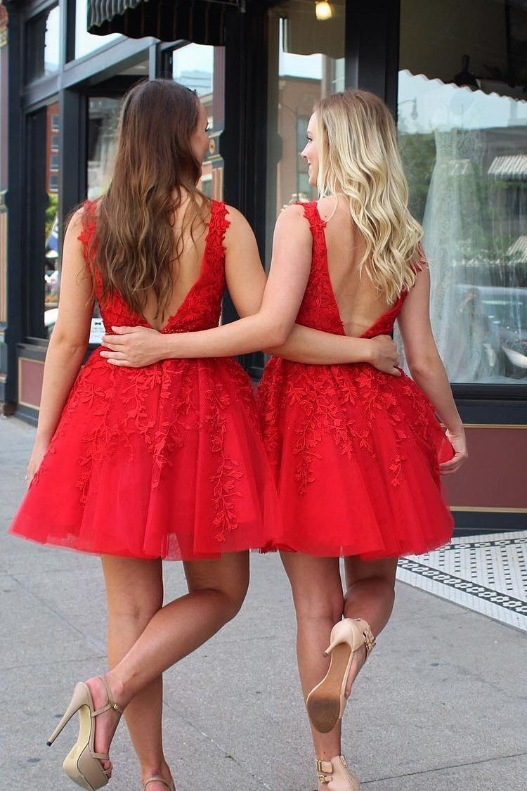 Red Beading Lace Tulle Short Open Back V-neck Pincess Homecoming Dresses Z2056