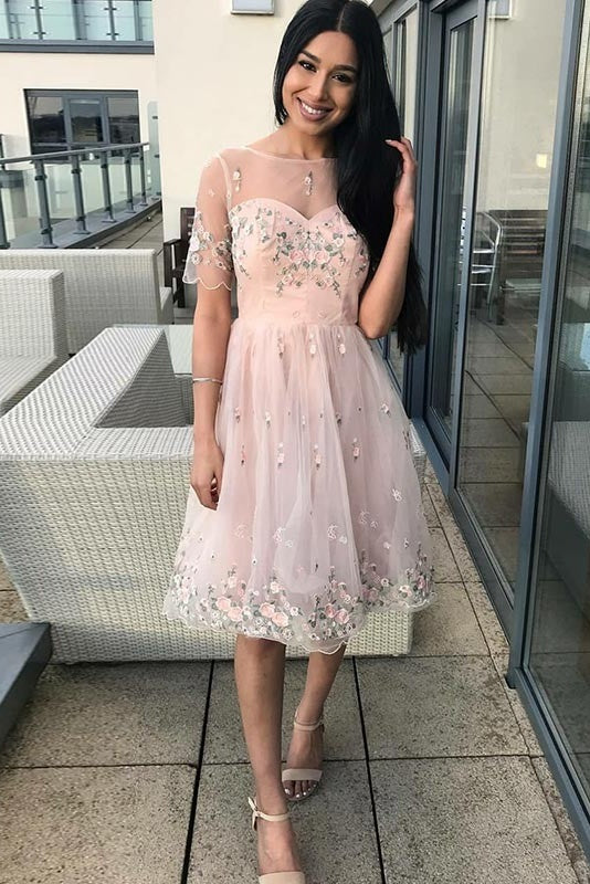 Princess Pink Beautiful Homecoming Dresses Party Dresses With Sleeves Z2061