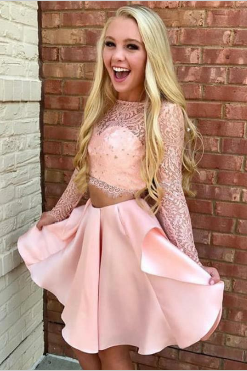 Two Pieces Pink Long Sleeves Lace Satin Cute Homecoming Dresses For Teens Z2067