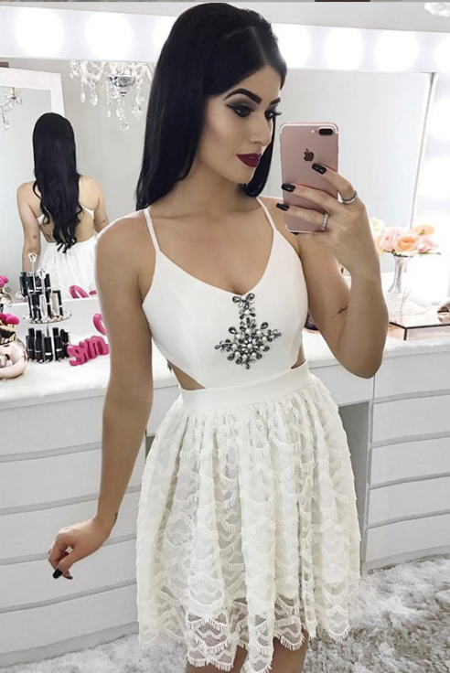 Formal Spaghetti Straps Ivory Lace Cocktail Dresses Short Homecoming Dresses Z2068