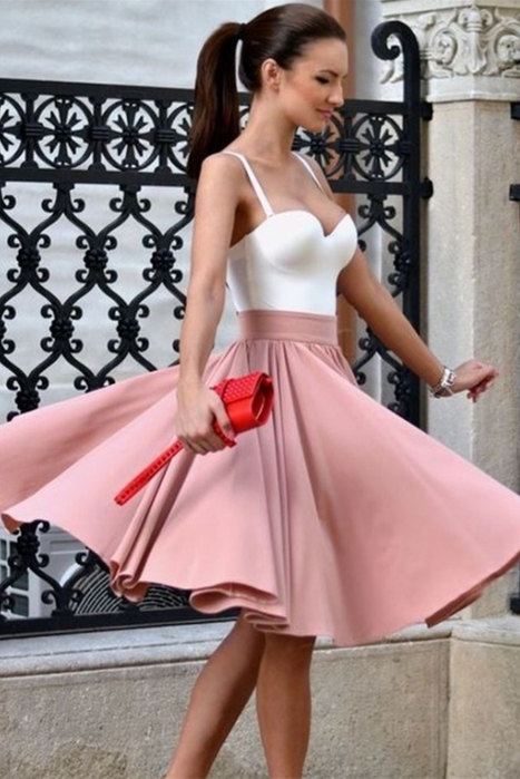 Elegant Simple Spaghetti Straps Pink Homecoming Dresses Party Dresses Z2069