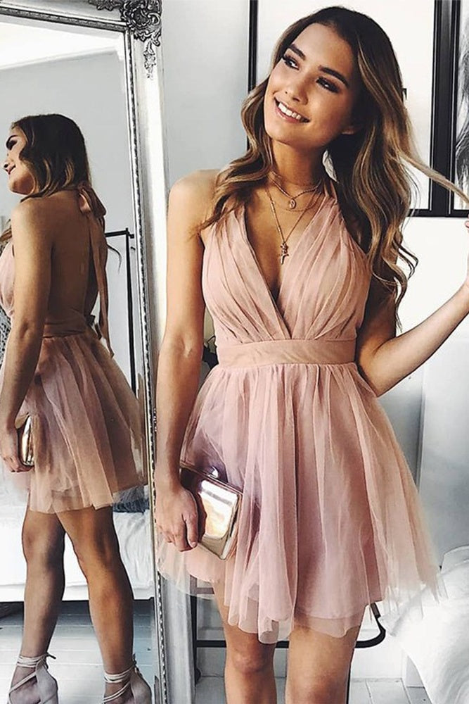 Simple V-neck Halter Backless Short Prom Dresses Homecoming Dresses Z2071