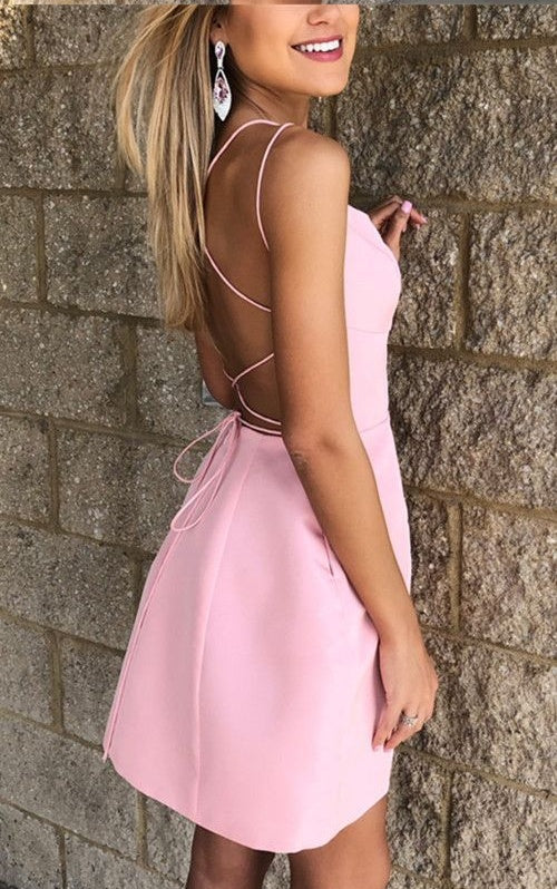 Spaghetti Straps Cute Short Simple Pink Homecoming Dresses With Sleeves Z2076