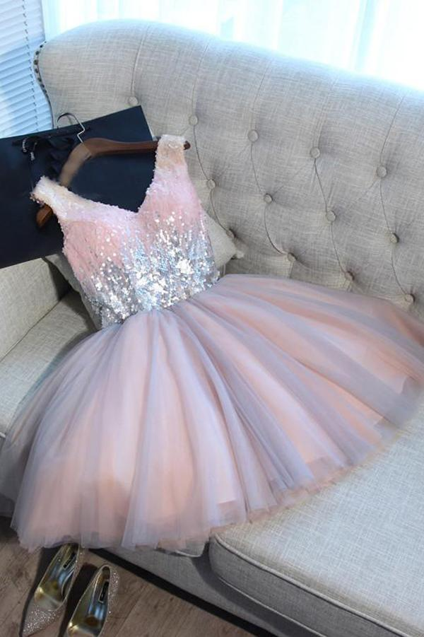 Pink And Silver V-neck Lace Up Short Cute Homecoming Dresses Party Dresses Z2081