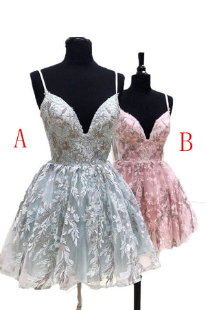 Pretty A-line Spghetti Straps V-neck Cocktail Dresses Short Homecoming Dresses Z2085