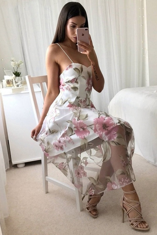 Simple Spaghetti Straps Floral Print Open Back Homecoming Dresses Z2090