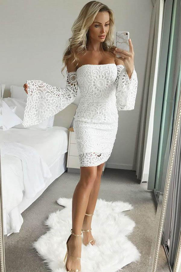 Elegant Sheath Short Lace Homecoming Dresses Party Dresses With Sleeves Z2091