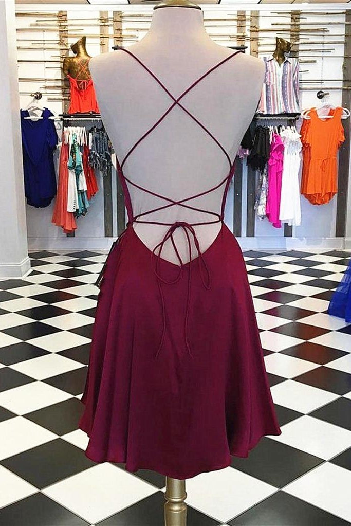 Sapghetti Straps Ope Back Simple Cheap Homecoming Dresses For Teens Z2096