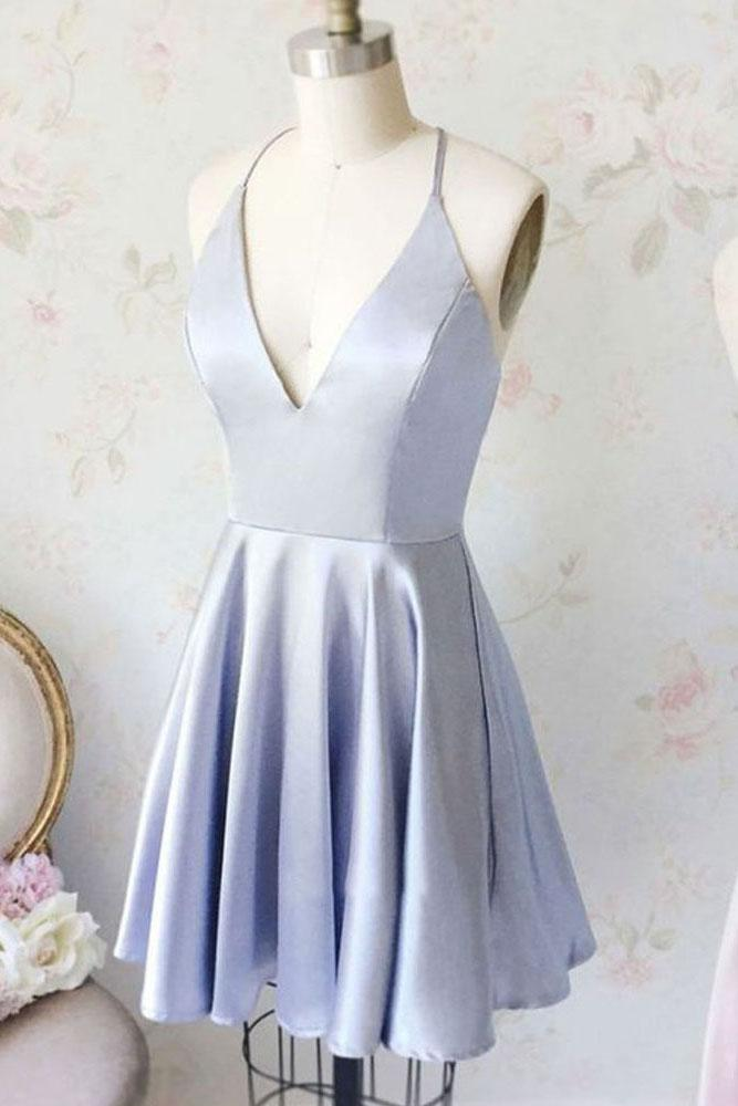 Cute Simple Cheap V-neck Open Back Short A-line Homecoming Dresses Z2097