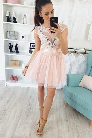 Cute Lace Tulle Cap Sleeves Short Pink Homecoming Dresses For Teens Z2121