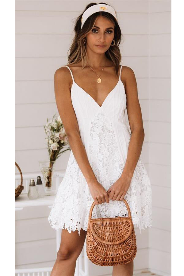 Simple Spaghetti Straps Short Cute Ivory Lace Homecoming Dresses Z2122